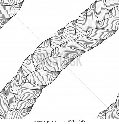 Abstract Seamless Texture, Endless Black And White Pattern With Doodle Hair