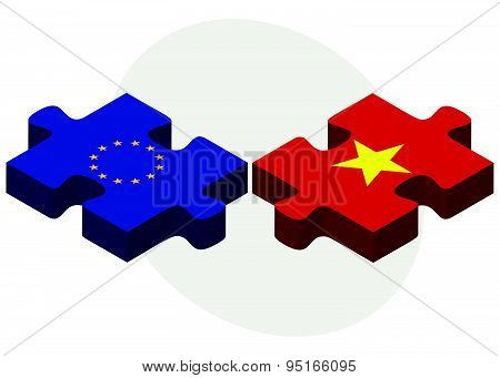 European Union And Vietnam Flags