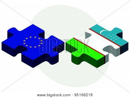 European Union And Uzbekistan Flags