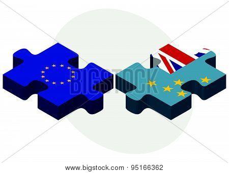 European Union And Tuvalu Flags