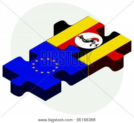 European Union And Uganda Flags