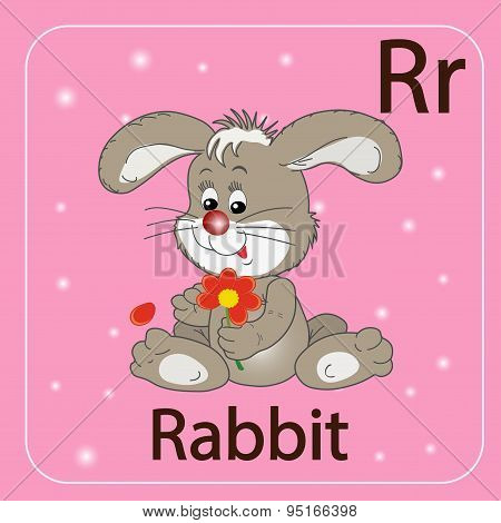The English letter R and a rabbit