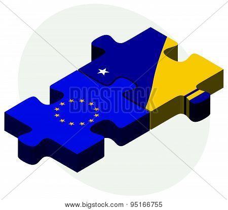 European Union And Tokelau Flags