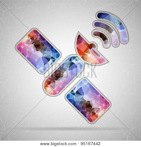 Abstract Creative concept vector icon of satellite for Web and Mobile Applications isolated on backg