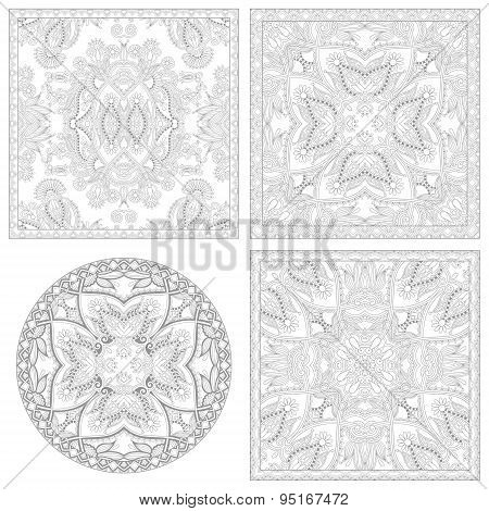 unique coloring book square page set for adults
