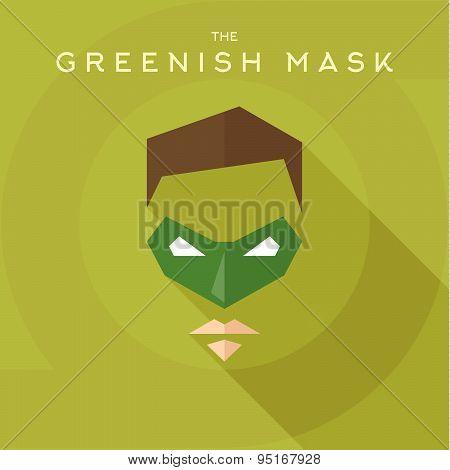 Greenish mask, superhero into flat style