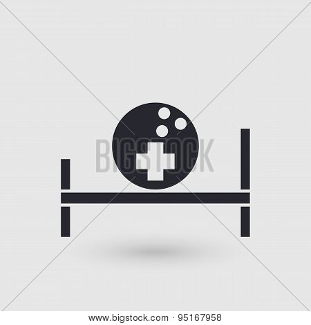 Icon Bowling. Medical Room Of Bowling Club. Pictogram Pointer.