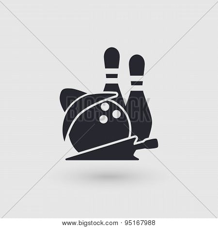Icon Bowling. Checking Room Bowling Club. Pictogram Pointer.