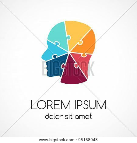 Logo puzzle human face template. Modern vector abstract circle brainstorming creative sign or symbol