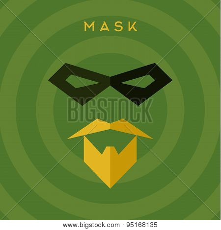 Black mask, beard mustache, superhero, green background, vector flat style illustrations