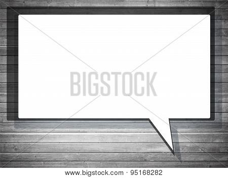 White vector speech frame with shadow on gray wooden wall. Vector Illustration