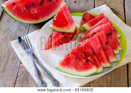 Fresh slices of watermelon on a plate