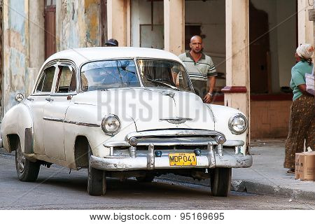 Havana, Cuba - February 5, 2008. Classic Oldtimer Automobile On A Street.