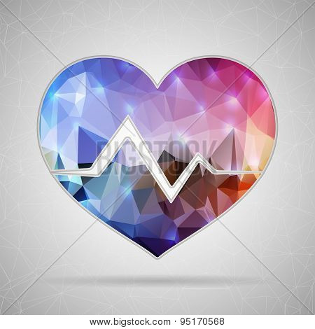 Abstract Creative concept vector icon of cardiogram for Web and Mobile Applications isolated on back