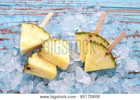 Pineapple Popsicle Yummy Fresh Summer Fruit Sweet Dessert Wood Teak