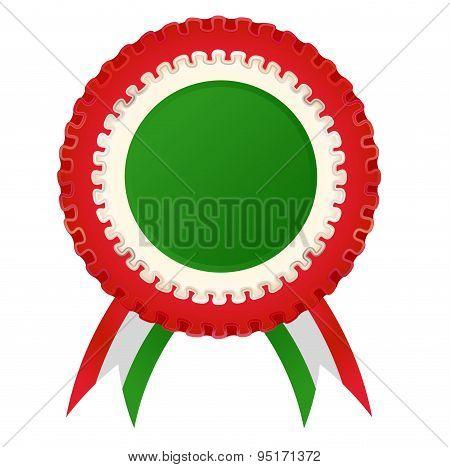 Award Rosette With Italian Flag Color