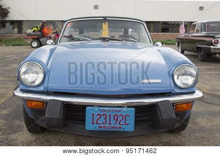 Blue Triumph Spitfire 1500 Car Front View