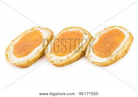 Row Of Sandwiches With Salted Pollock Roe On White