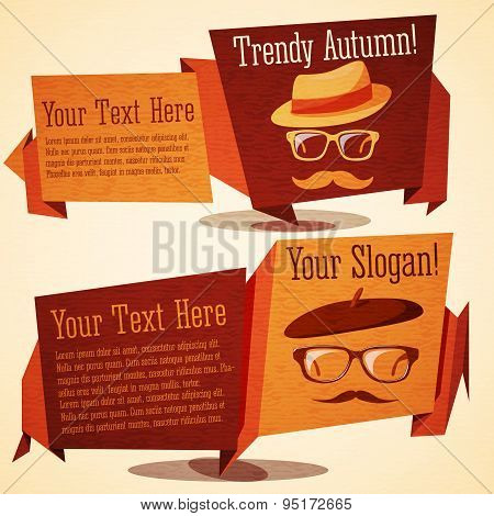 Set of cute autumn vintage stylized banners - hipsters in glasses and hats, for trendy sales