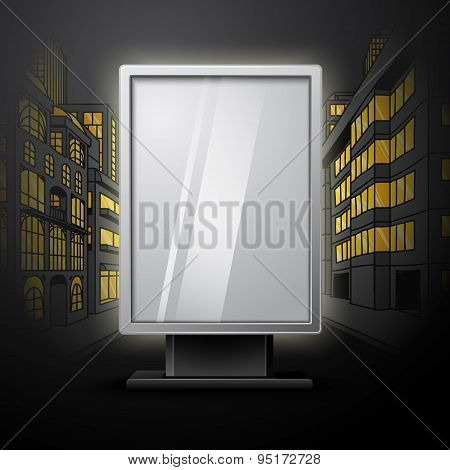 Blank white vertical billboard on night city scape blueprint, with place for your design and brandin