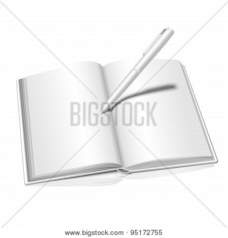 Realistic isolated on white background opened book with writing pen