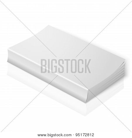 Realistic blank softcover book. Isolated on white background with soft reflection for your design or