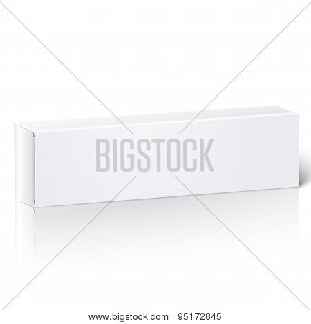 Realistic blank paper package box for oblong stuff - toothpaste, cosmetics, medicine etc.