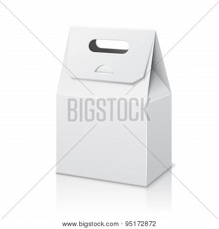 Blank paper packaging bag with handle. Isolated on white background. Vector