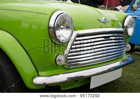 Close Up Of A Bright Green Car