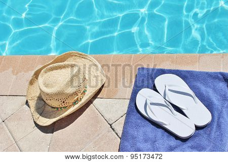 Poolside summer holiday towel hat shoes