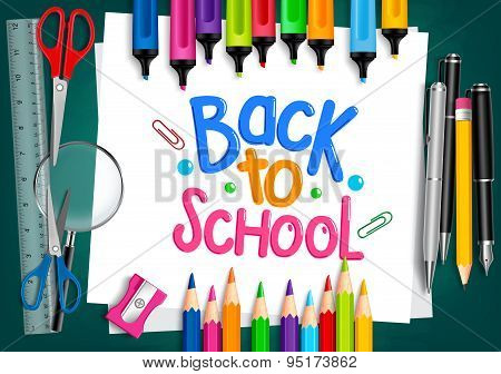 Realistic 3D Set of School Items with Back to School Title
