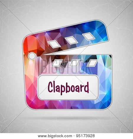 Abstract Creative concept vector icon of clapboard for Web and Mobile Applications isolated on backg