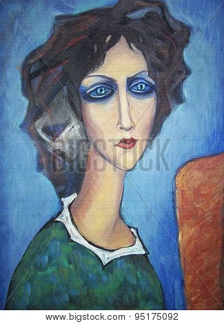 Acrylic Colorful Painting. Portrait Of Woman.