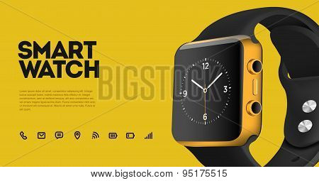Vector realistic illustration of smart electronic intelligence watch, technology functions and templ