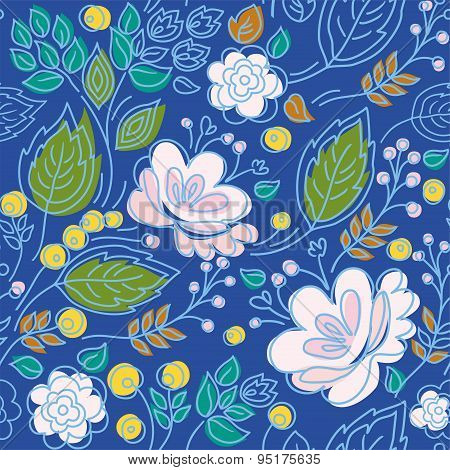 Seamless Pattern, Blue Backgr...
