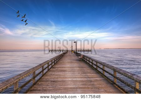 Pier Into The Chesapeake