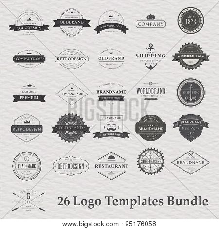 Vector set of vintage camping logo.