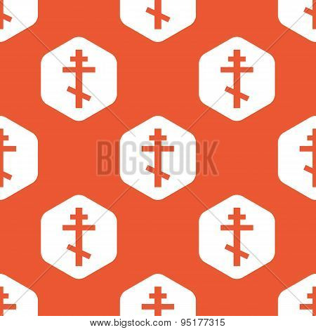 Orange hexagon orthodox cross pattern