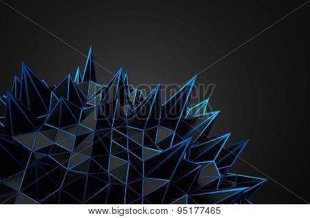 Abstract 3D Rendering of Black Chaotic Structure.