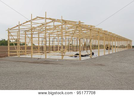 Frame Under Construction For Storage Unit Building