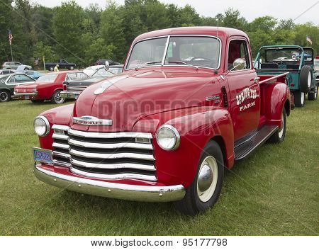 Vintage Red Chevy 3600 Pickup Truck