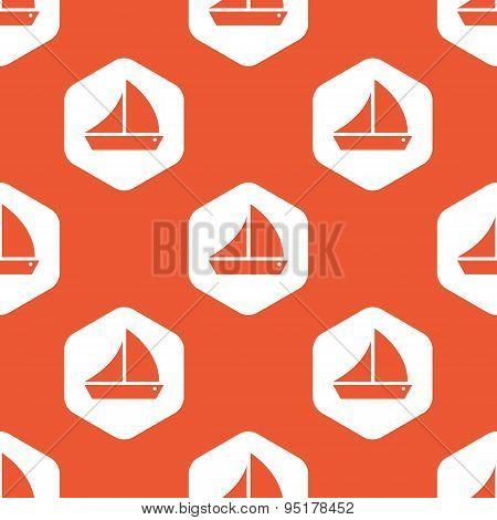 Orange hexagon sailing ship pattern