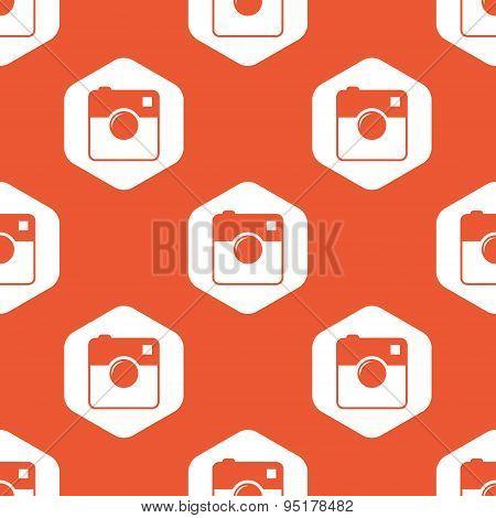 Orange hexagon square camera pattern