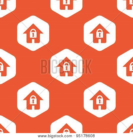 Orange hexagon locked house pattern