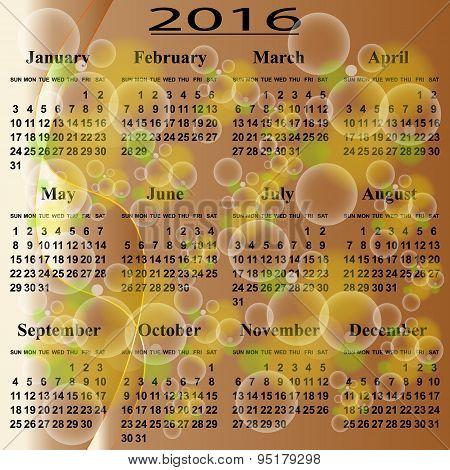European  calendar  2016 year.