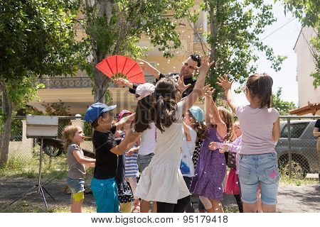 Athens, Greece 17 May 2015. Magic show with Tristan.