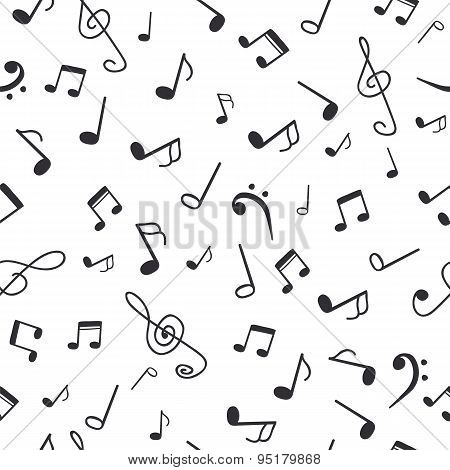 Hand Drawn Music Notes. Music Seamless Pattern Background