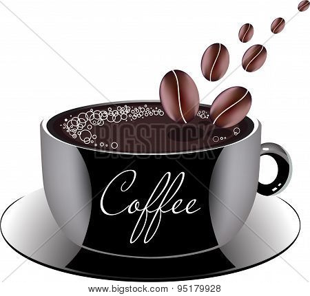 Cup Of Coffee On A Sauce, Vector Illustration