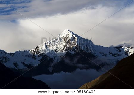 Mount Veronica Peru With Sunlight On Peak