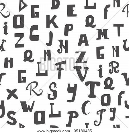 Seamless Pattern With Letters. Hand Drawn Alphabet